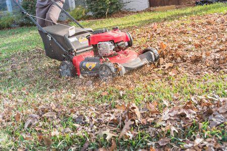 Arbeitender Benzinrasenmäher, der Herbstblätter in der Nähe der Dienstprogrammflagge mulcht. Seitenansicht Mann schiebt Grasmäher für Rasenpflege und Hinterhof aufräumen in der Herbstsaison in Texas, Amerika
