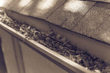 Vintage tone gutter near roof shingles of residential house full of dried leaves and dirty need to clean-up. Gutter cleaning and home maintenance concept Reklamní fotografie