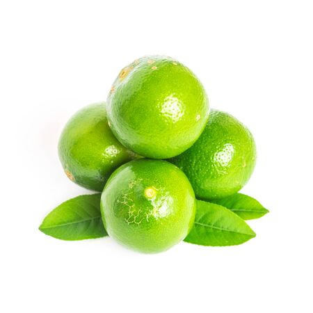 Four whole Asian green limes with leaves isolated on white background. Fresh picked homegrown tropical fruit with clipping path and copy space.