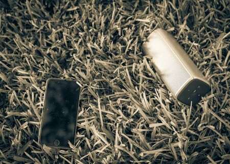 Smart phone and wireless speaker on grass lawn outdoor at sunset. 写真素材