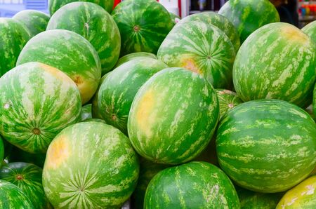 Group of fresh organically grown watermelons in the farmer market at Puyallup, Washington, USA. A close up full l frame of whole summer fruits. Reklamní fotografie