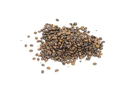 Pile of roasted Vietnamese robusta coffee beans isolated on white background. Medium roast organic coffea canephora family Rubiaceae with clipping path and copy space. Stock Photo