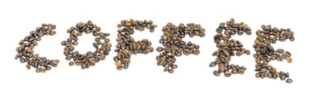 Coffee text made from roasted Vietnamese robusta coffee beans isolated on white background. Medium roast organic coffea canephora family Rubiaceae with clipping path and copy space