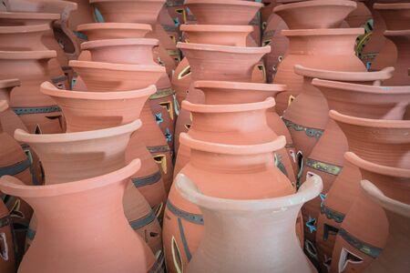 Close-up neck of ancient terracotta vases at pottery shop near Hanoi, Vietnam. 写真素材