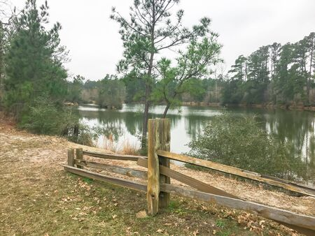 Scenic lake side trail with rustic wooden fence logs and tall pine trees of rest area in Texas, America.