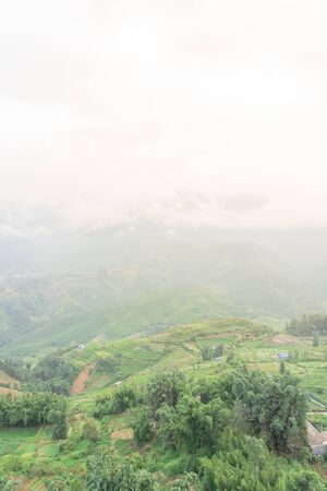 Foggy valley mountain landscape with lush green field terrace rice paddy in Sapa, Northern Vietnam Stockfoto
