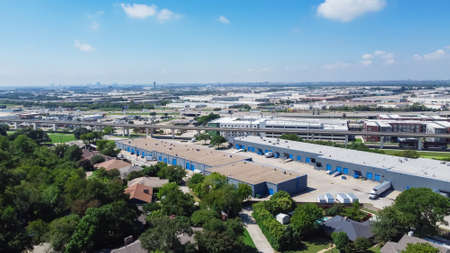 Aerial view logistic center industry warehouse near historic downtown Carrollton Square, Texas Stock Photo