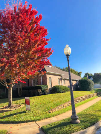 Neighborhood street with corner house for sale near colorful autumn leaves in Dallas, Texas, USA Imagens
