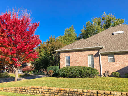 Suburban corner house with colorful autumn leaves and high terrain wall near Dallas, Texas, USA Imagens
