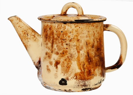 sooty: Old sooty kettle on white isolated