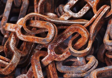 Old rusty chain close up photo