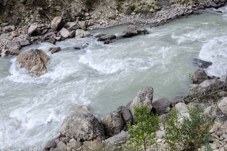The river in the mountains top view Archivio Fotografico