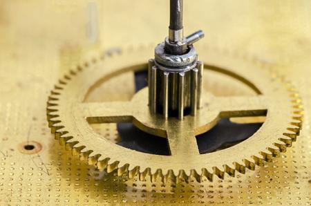 Gear of the clock mechanism close up Archivio Fotografico
