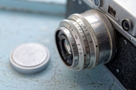 Detail of an old camera close up Archivio Fotografico