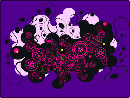 pink circles on a purple background Illustration