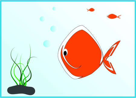 fish under water Illustration