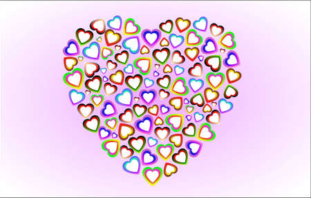 the heart consists of lots of small colored hearts