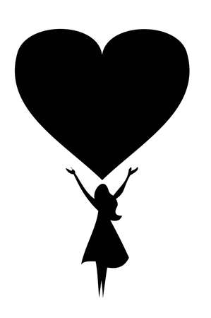 silhouette of a woman who sends the heart to the sky
