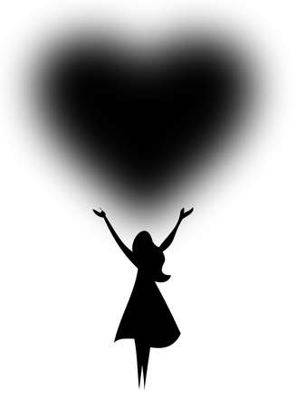 silhouette of a woman with a heart over head Illustration