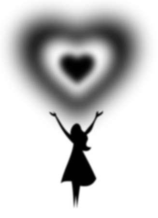 the black silhouette of a woman who holds above his head in black and white heart Illustration