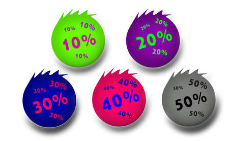 sales tags that specify the percentage discount