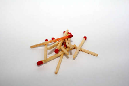 matches spilled on white background