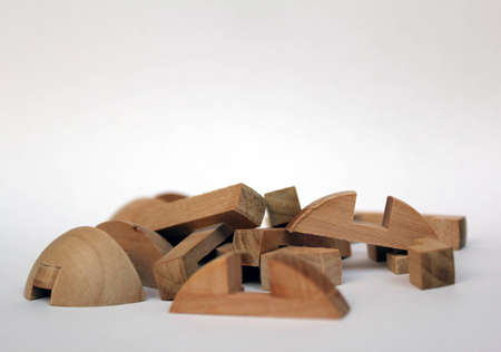 pieces of wooden puzzles
