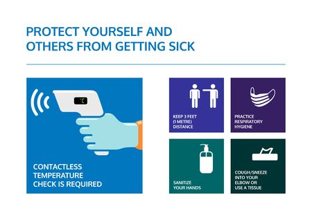 Covid-19 coronavirus prevention poster. Contactless temperature check is required. Info graphic for keep 3 meters distance, wear a face mask, use hand sanitizer and cough in to elbow or use a tissue.
