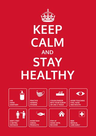 Keep calm and stay healthy. Coronavirus prevention poster with signs. Basic protective measures against the new coronavirus. Important information and guidance to stay healthy from Covid-19.