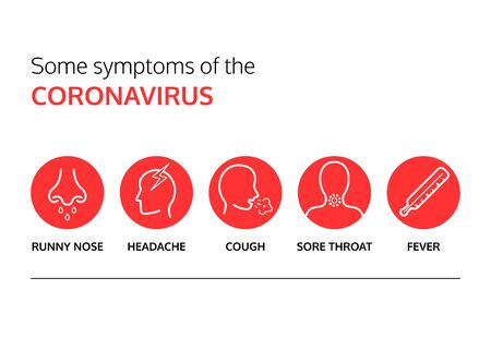 Some symptoms of Covid-19. Coronavirus outbreak. Information graphic with red icons. 2019 Novel Coronavirus. 2019-nCoV. Important information for general public. Awareness vector illustration. Çizim