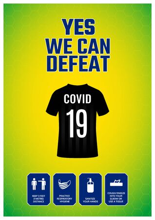 Yes, we can defeat Covid-19. Motivational and informative poster design to stay protected from Covid-19 pandemic. Basic protective measures with icons. Brazil football theme. Coronavirus outbreak. Иллюстрация