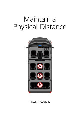 Maintain a physical distance poster. Covid-19 prevention design. Social distancing message for passenger vehicles. Passenger transport vehicle seat layout message. Seating layout of a mini bus. Vectores
