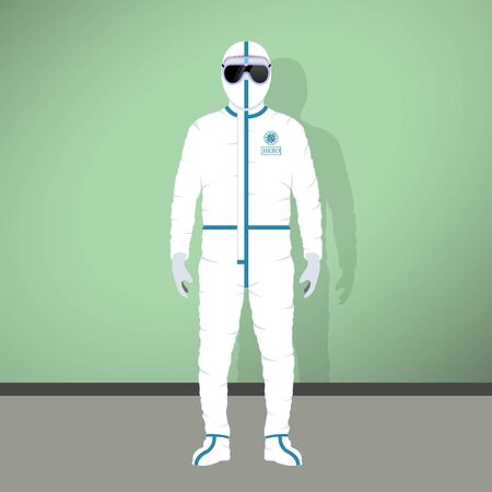 Doctors and nurses in hazmat suit. Real-life medical heroes in protective suits. Healthcare professionals during Covid-19 new coronavirus pandemic. Protective work wear for infectious biohazard areas.
