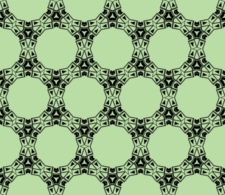 Abstract seamless pattern. Mirror geometric ornament. Vector illustration green color