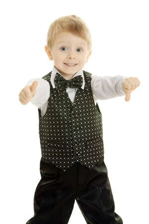 The little boy in a suit of the businessman shows gestures by hands Stock Photo - 8541667