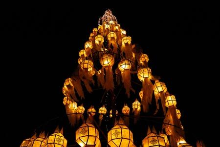 yeepeng:  lamp tree in yee peng festival thailand