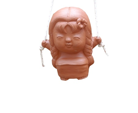 an isolate clay doll with rope hanging Stock Photo - 9595251