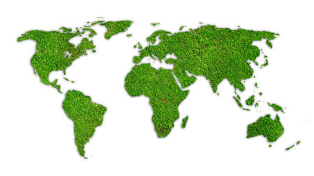 Green  World map.