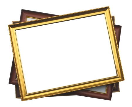 plated: picture frame, wood plated, white background