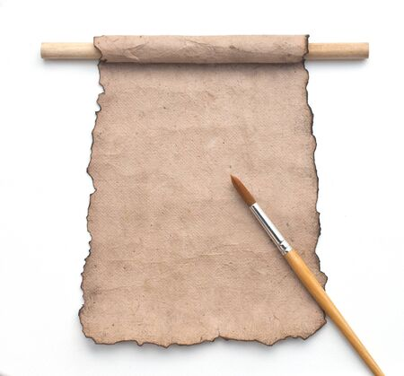 old paper sheet with paintbrush. Stock Photo - 9771473