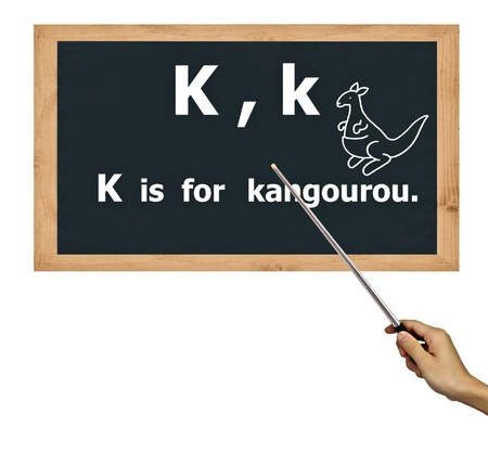 blackboard for  abc  alphabet  learning  and Hand holding pointer. photo