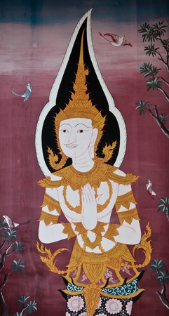 Buddhist murals in Thai temple.