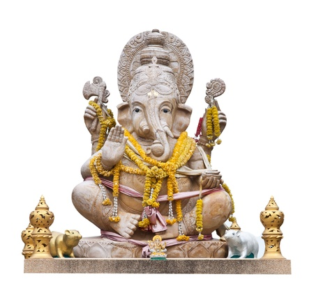 Hindu God Ganesh over a white background Stock Photo