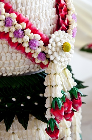 Handmade decoration flower  for thai ceremony. Reklamní fotografie