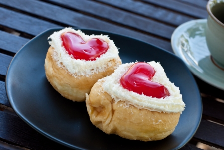 heart shaped: red heart  shape of  donut for valentine day Stock Photo