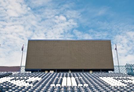 public sector: blue seat at football  Stadium.