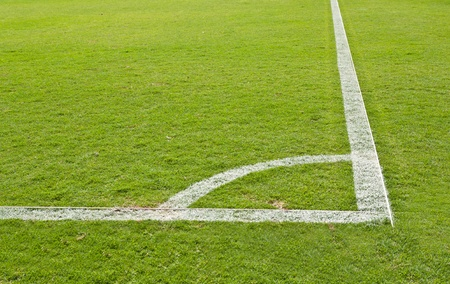 pitch: green grass and soccer field corner Stock Photo