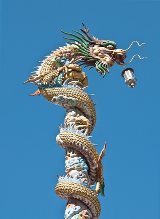 Ancient Chinese Dragon statue  against blue sky photo