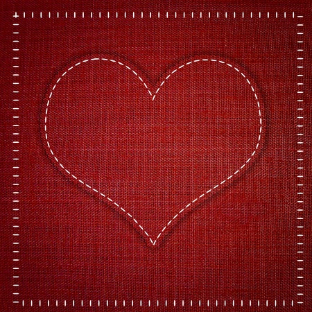 red heart  sewing  fabric style Stock Photo - 13586594