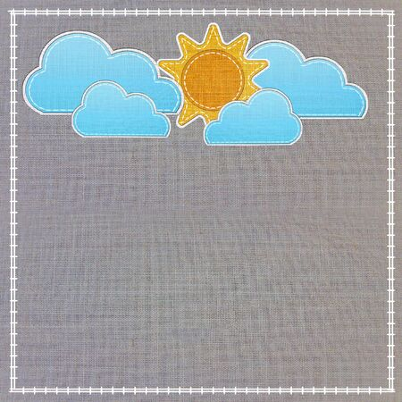 Set of weather forecast icon in fabric style . photo